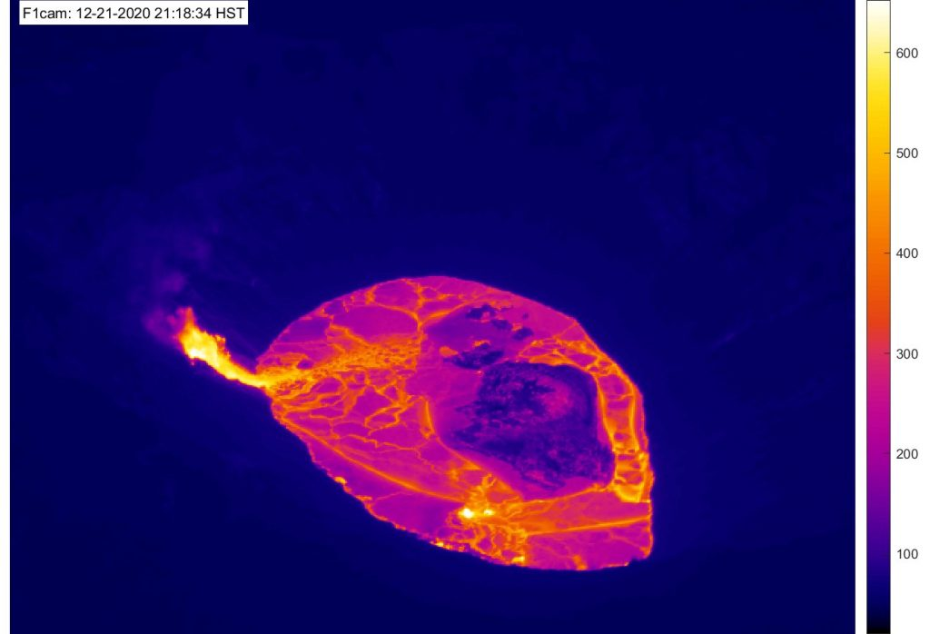 Scientists — and the world, thanks to the Hawaiian Volcano Observatory webcams, which show the summit lava lake, as seen here in thermal imaging with a raft of cooler lava on top of fresh, hot magma — can see what's happening at the volcano in real time. Credit: HVO