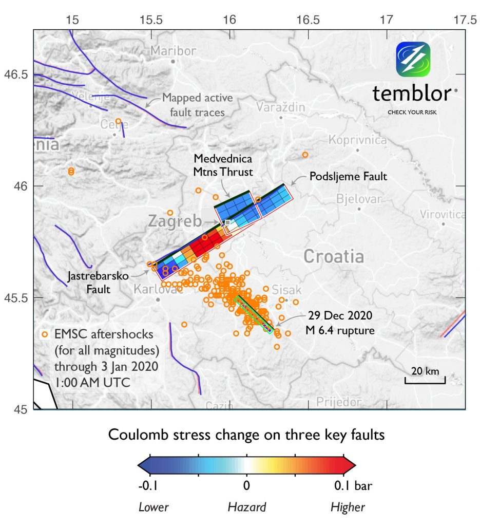 Map of Central Croatia with colored boxes along a line. Aftershocks are plotted as orange circles.
