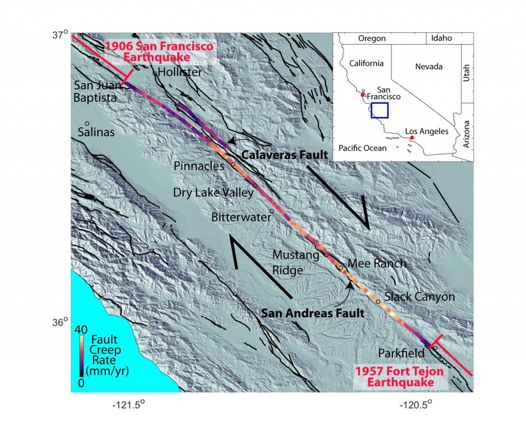 Map of Central California with San Andreas Fault highlighted in colors depending on fault slip rate.
