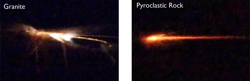 Left: Photo of white streak of light. Right: photo of orange streak of light