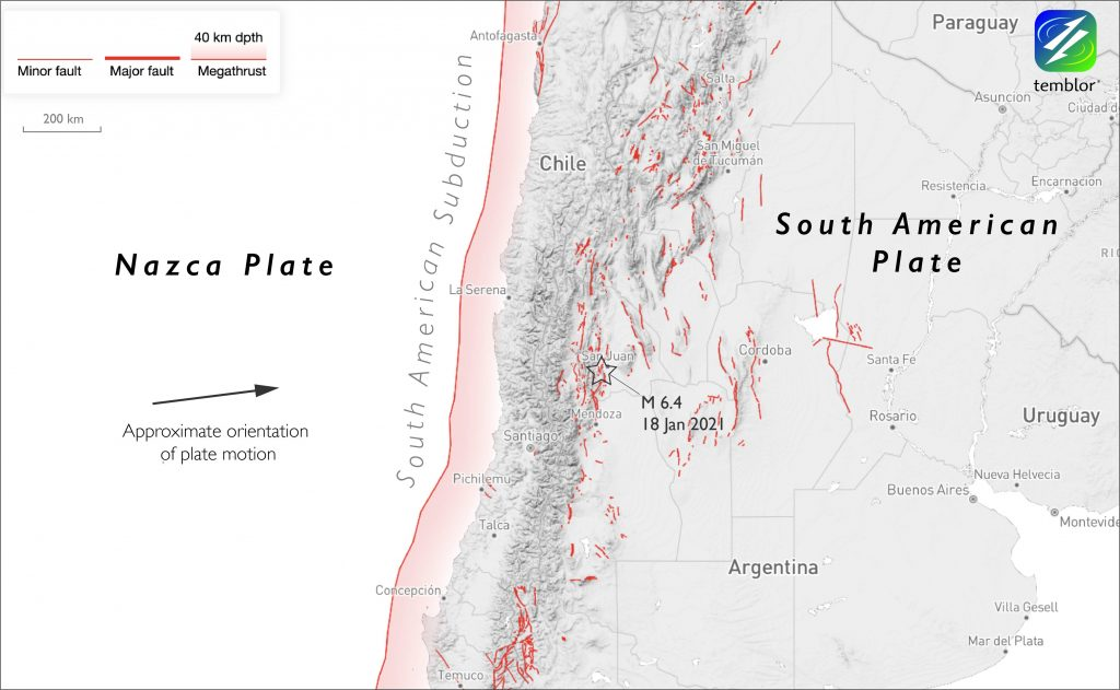 Map of south America with Nazca Plate and South American Plate labeled.