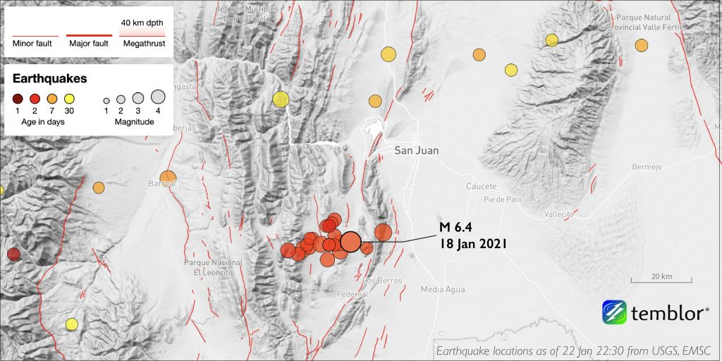 map with terrain hillshade. Red, orange, and yellow circles represent earthquake locations