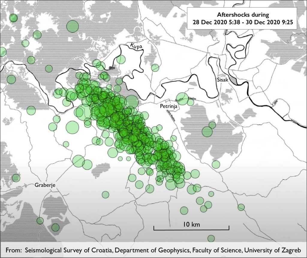 map of area around Petrinja, Croatia, with aftershocks plotted as green circles