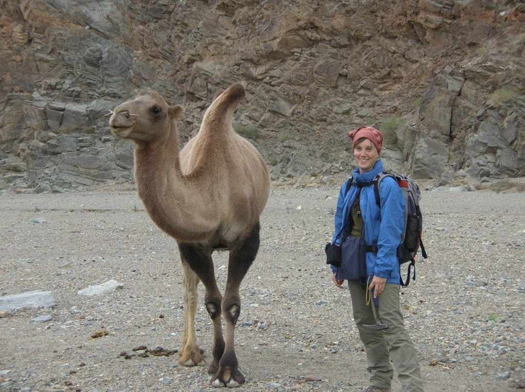 Photo of person standing next to camel.