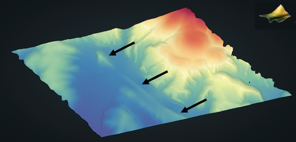 Computer generated image of a landscape. Surface color based on elevation. Warmer colors indicate higher elevation. Cooler colors indicate lower elevation.