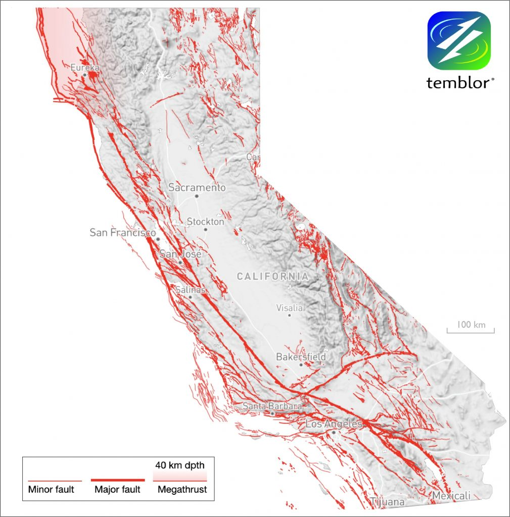 Map of California with red lines depicting fault locations.