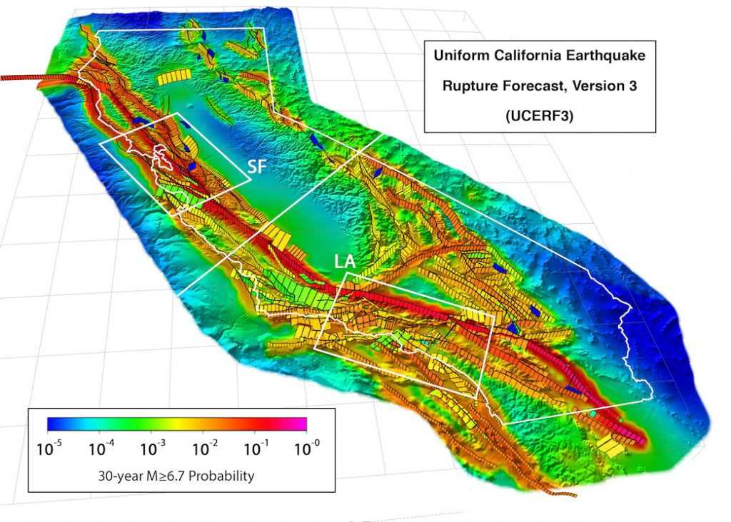 map of California colored by probability of a magnitude-6.7 earthquake.