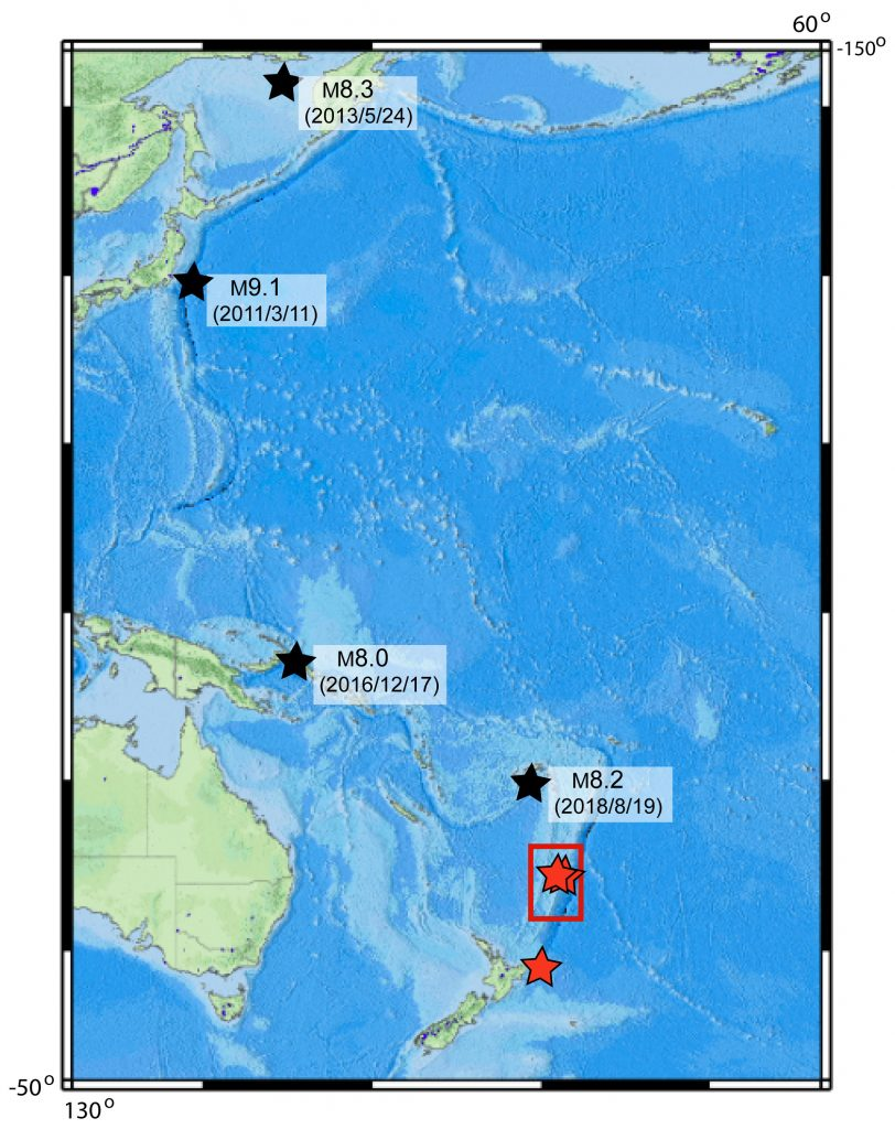 South Pacific with black stars near Japan, Papua New Guinea and Figi