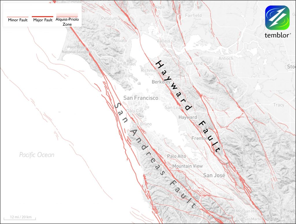 Map of San Francisco Bay Area with faults as red lines