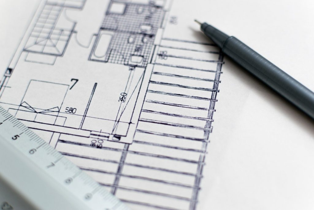 Sketch of building blueprints
