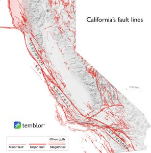 map of faults in California