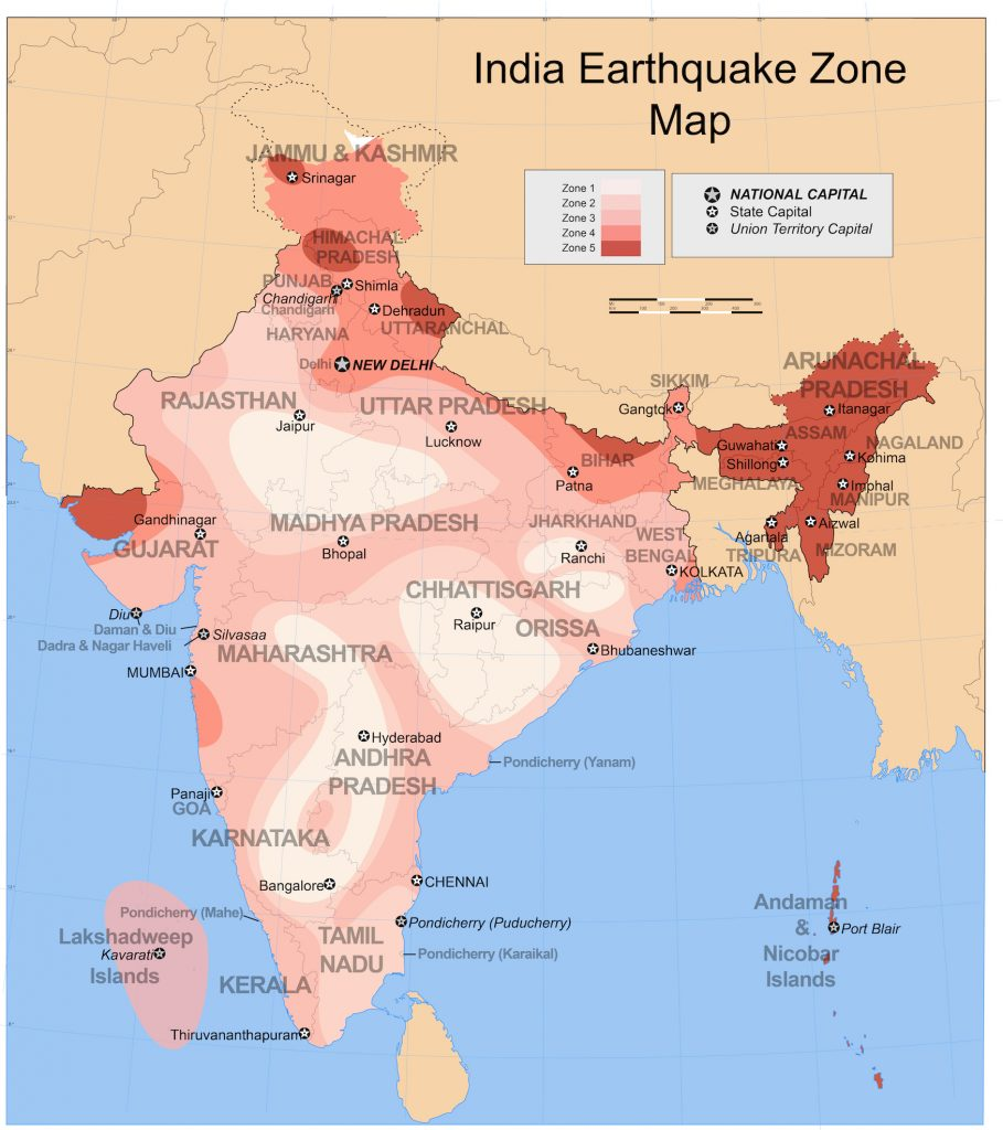 Map of India color-coded by seismic hazard level