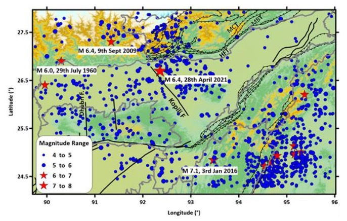 Map of Assam with blue dots showing earthquake locations