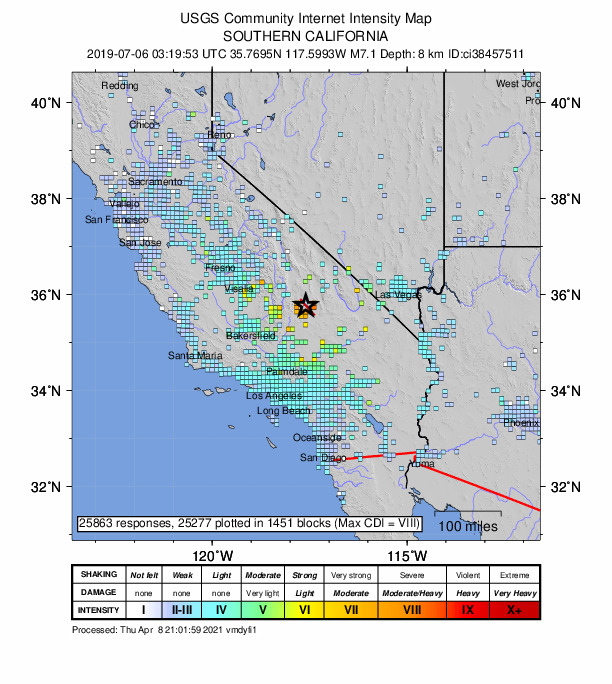 Map of CA with boxes colored by reported shaking intensity