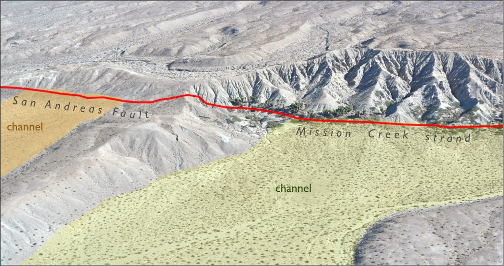 Aerial photo of flat land that abuts an elongated ridge