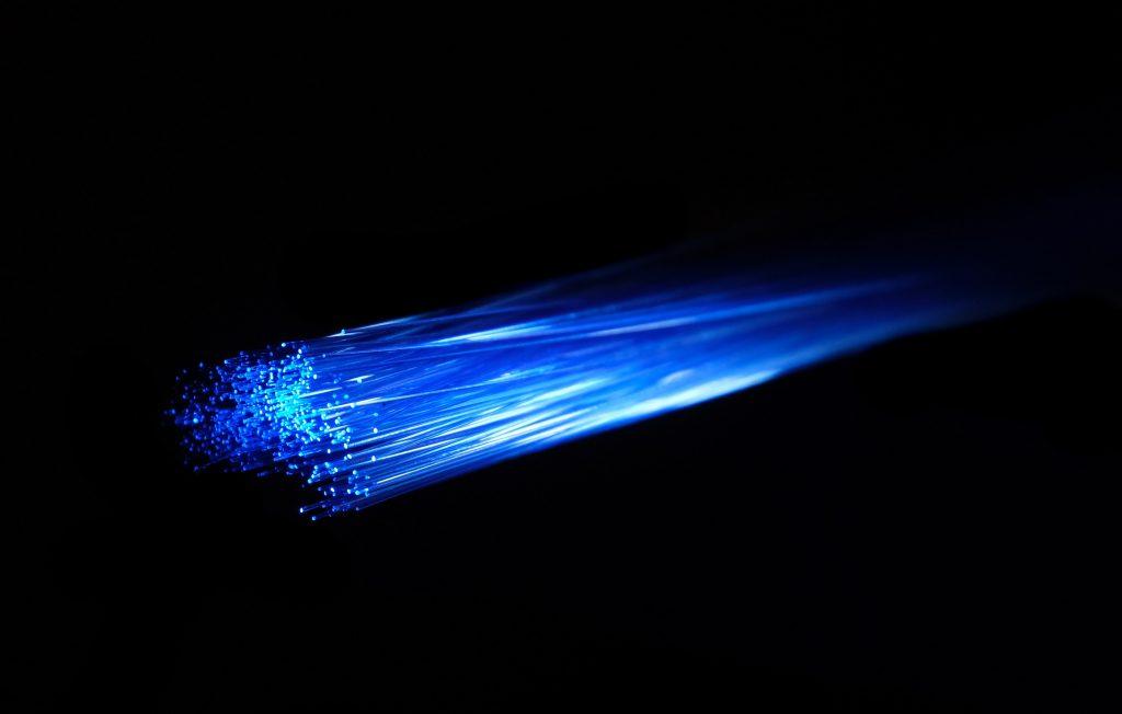 photo of blue streaks of light