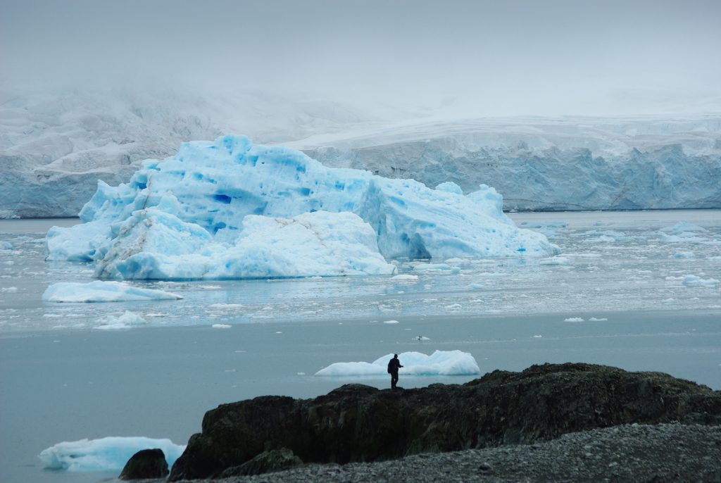 Iceburg floating in front of a glacier tip. Person standing on shore.