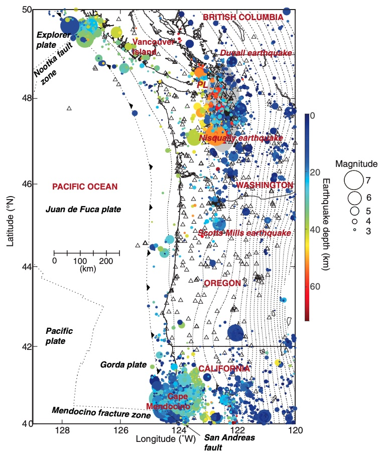 Map of Pacific NW coast with dots colored by earthquake depth
