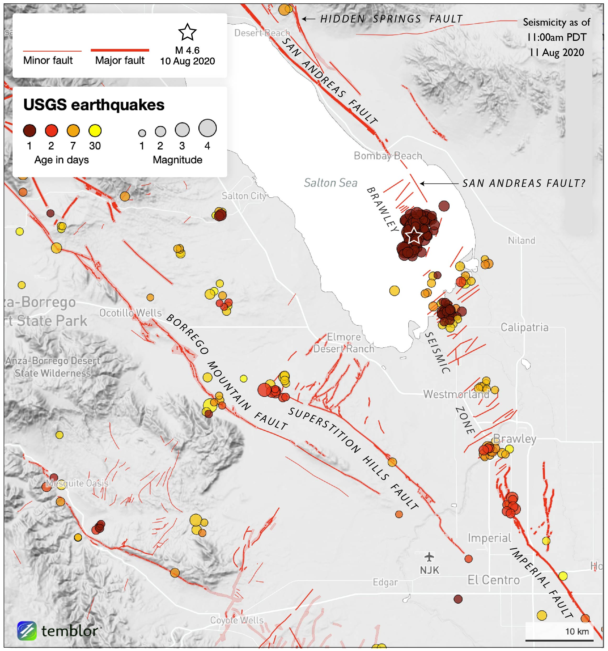 map with red dots showing earthquake locations and red lines showing fault locations
