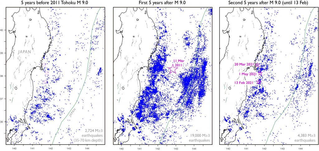 Three maps of the eastern coast of Japan with small blue dots showing earthquake locations