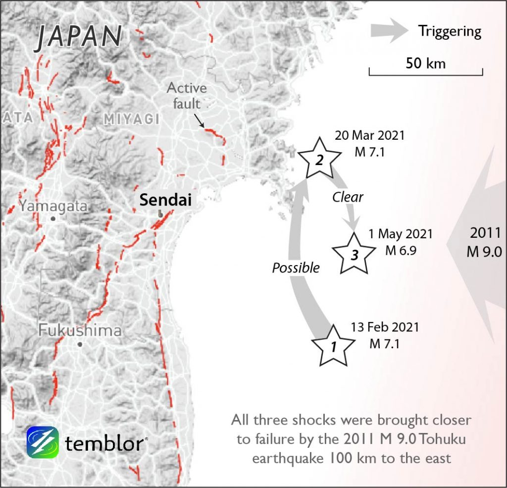 Map with arrows depicting which earthquakes triggered another