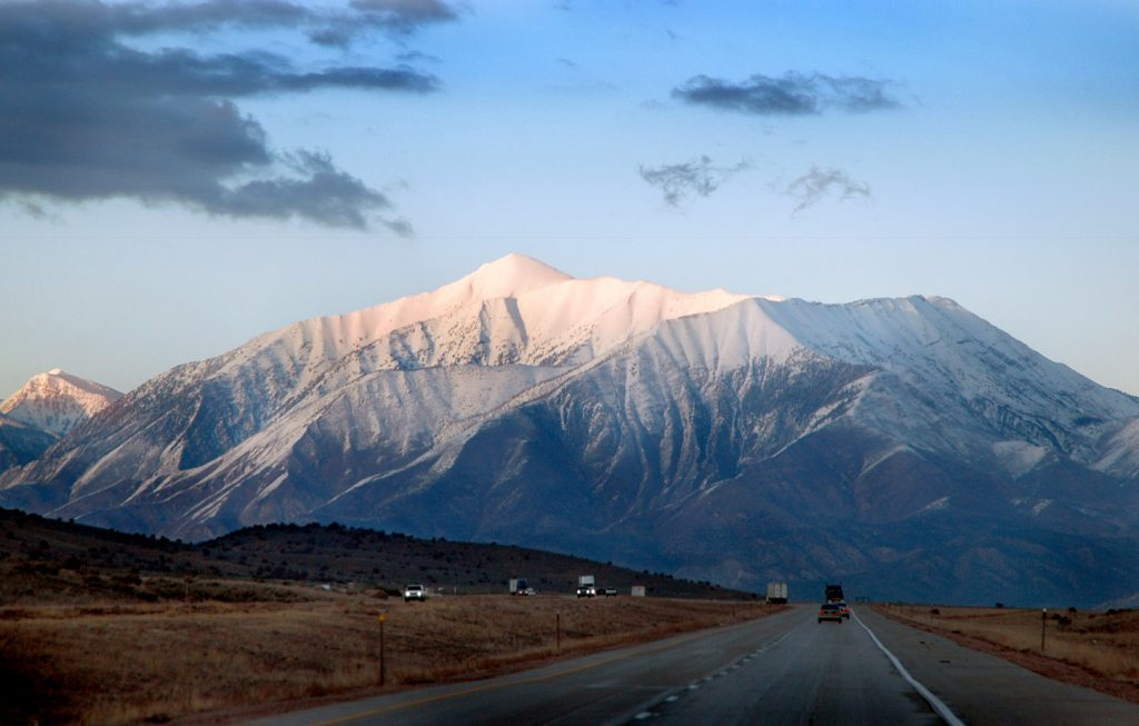 Photo of Mount Nebo, the highest mountain in Utah's Wasatch Range, taken from southwest of Nephi on I-80. Credit: Cory Maylett, CC BY-SA 3.0