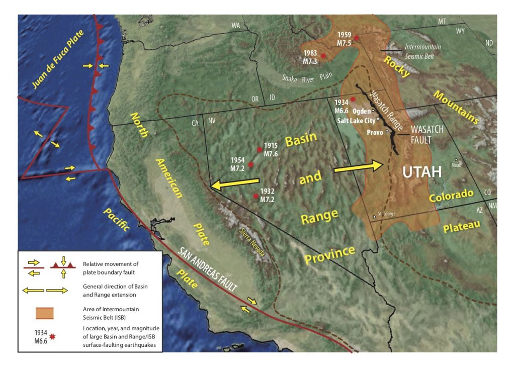 """The Wasatch Fault Zone runs approximately 240 miles (390 kilometers) from Malad City, Idaho, to Fayette, Utah. Credit: """"Putting Down Roots in Earthquake Country,"""" Utah Geological Survey"""