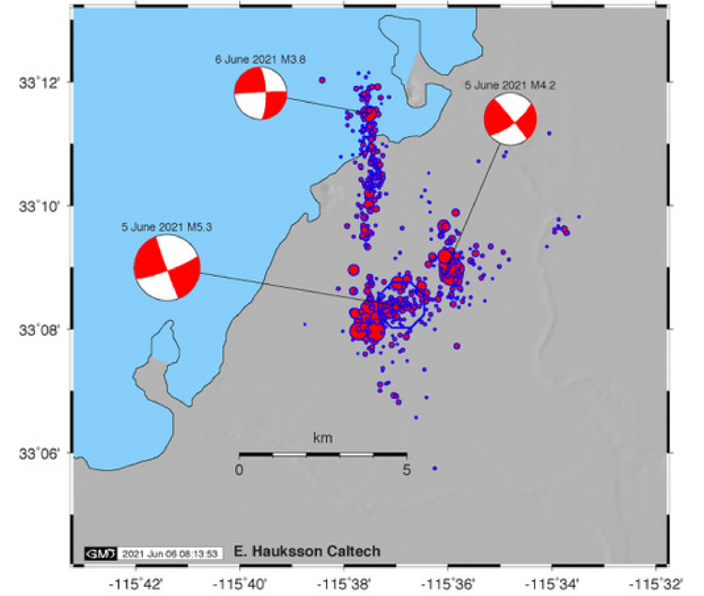 Figure 4. Map showing ~1,000 earthquakes recorded by the Caltech/USGS Southern California Seismic Networks during the first couple of days of the 2021 Salton Sea event. This map includes smaller earthquakes than we presented in Table 1 above (magnitude thresholds of 1.3 and 2.5, respectively). The largest magnitude-5.3 earthquake is shown as a blue open circle. The focal mechanisms are determined with a moment tensor algorithm. Credit: Egill Hauksson, Caltech