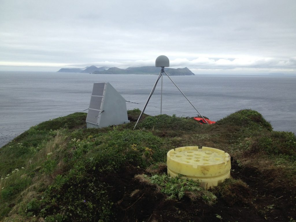 An example of a GPS monitoring system in the Aleutian Islands. Credit: UNAVCO