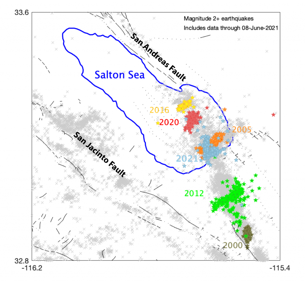 Figure 1. Map of the Salton Sea region in Southern California. Earthquakes (magnitude-2.0 and greater) within the last two decades are depicted as gray x's and earthquakes that are assumed part of swarms are color-coded: 2000 olive; 2005 orange; 2012 green; 2016 yellow; 2020 red and 2021 blue (three days of data only).