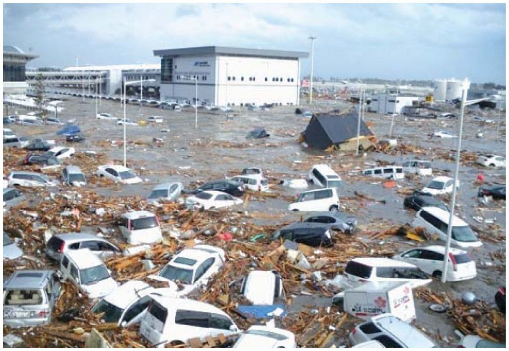 Sendai airport, in Japan, after the 2011 Tohoku tsunami. Credit: Ministry of Land, Infrastructure, Transport and Tourism (MLIT) (Japan), CC BY 3.0 IGO via Wikimedia Commons