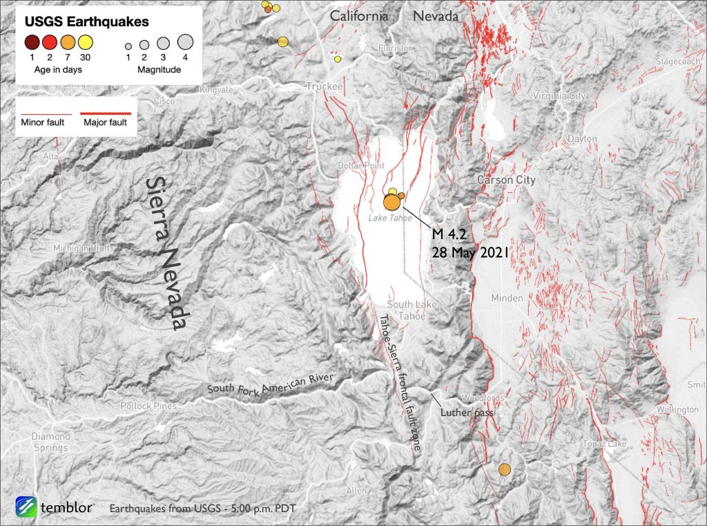 Map showing Lake Tahoe and the surrounding region, along with earthquakes from the last 30 days.