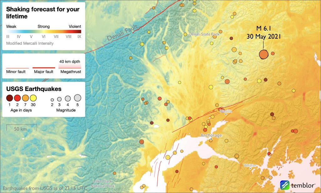 Location of the Chickaloon earthquake, along with other earthquakes in the region recorded by the USGS for the past month.