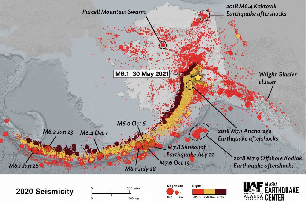 The location of this earthquake with respect to all earthquakes that occurred in 2020.Credit: Alaska Earthquake Center, University of Alaska, Fairbanks