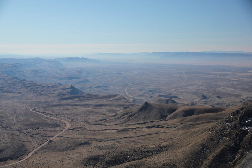 The edge of the Delaware Basin stands high above the plains of West Texas, photographed from the Guadalupe Mountains. Credit: Kirk Kittell, CC BY-NC 2.0