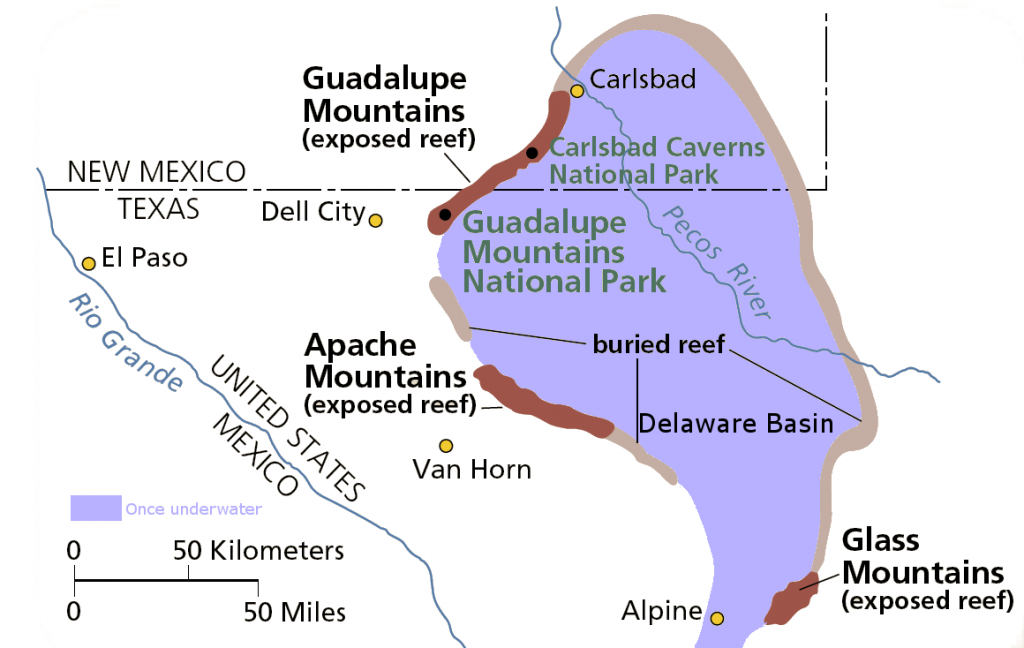 Drawn map of Delaware Basin in West Texas and New Mexico. Credit: National Park Service, Public Domain