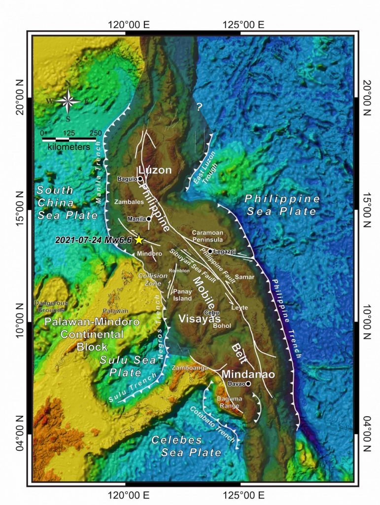 Figure 1 - Tectonic map of the Philippines showing the Philippine Mobile Belt (shaded), active subduction zones and internal active faults. Credit: Adopted from Aurelio et al., (2013)