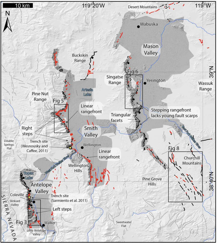 Overview of study area of Pierce et al., 2020, that includes Antelope Valley. Dark gray hillshades indicate lidar data. Red lines show mapped faults. Bold black lines show fault contacts between bedrock and alluvial sediments. Thin black lines come from the USGS Quaternary fault and fold database. Credit: Pierce et al., 2020, CC BY 4.0