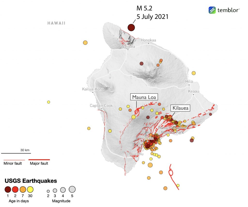 Map of the Big Island showing seismicity from the last 30 days. Most seismic activity is concentrated near the south side of the island, near the active volcanic centers. Note the location of the recent temblor, north of the island.