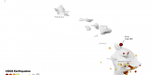 Map of the Hawaiian islands showing the location of the magnitude-5.2 earthquake that struck on July 5, 2021.