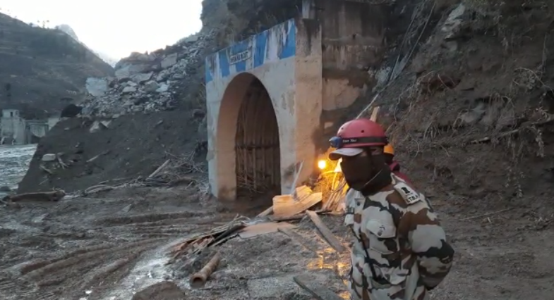 The Chamoli 2021 rescue operation included extracting people trapped in the tunnel in Tapovan, one of the affected hydropower plants. Credit: Press Information Bureau, India, CC0, via Wikimedia Commons