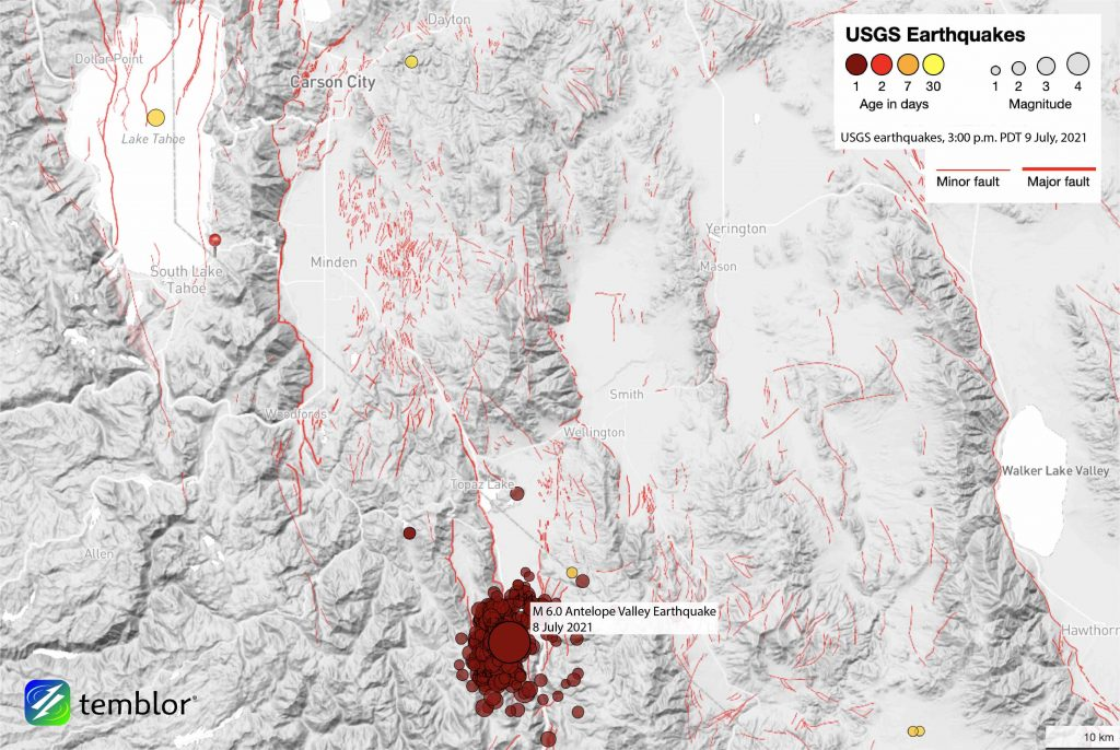 Map showing earthquakes that have rocked the Antelope Valley area, south of Lake Tahoe, since yesterday afternoon.