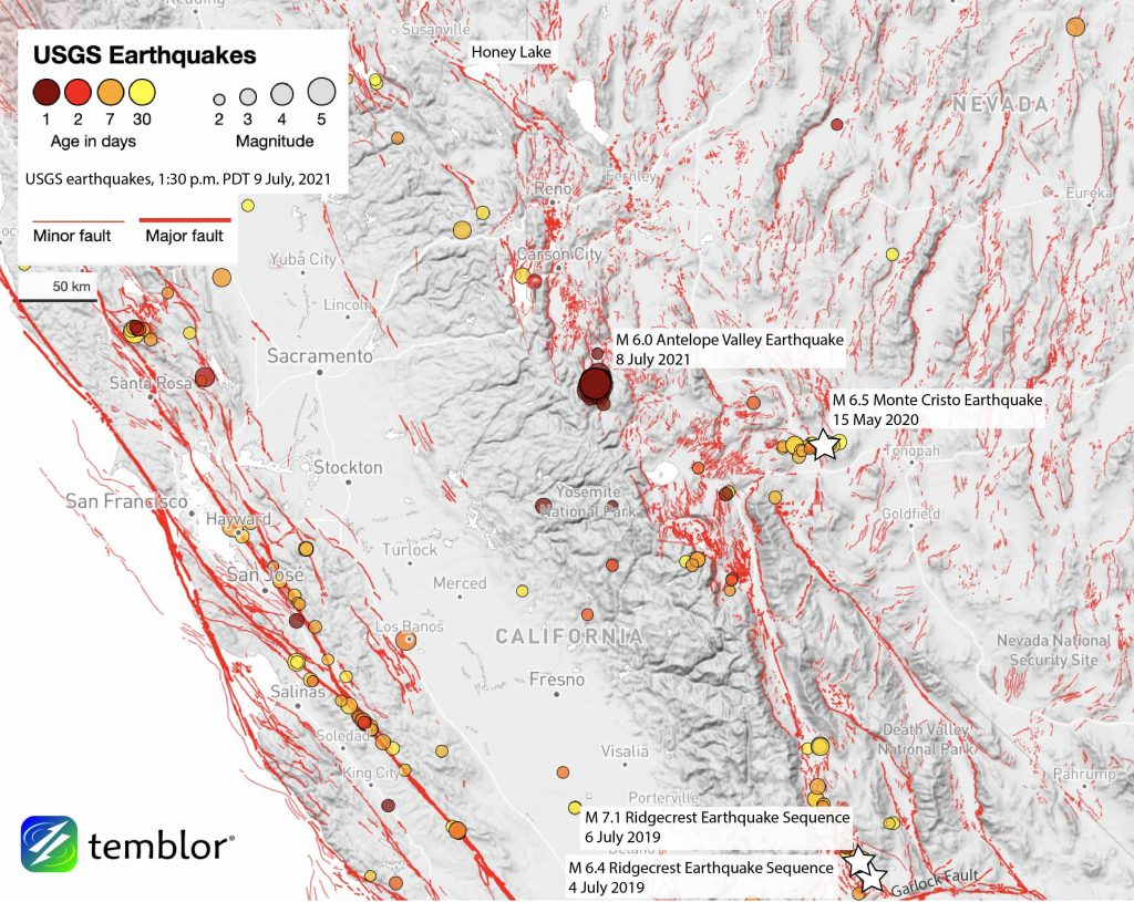 Annotated map showing locations of earthquakes greater than or equal to magnitude-6 in the Walker Lane region.