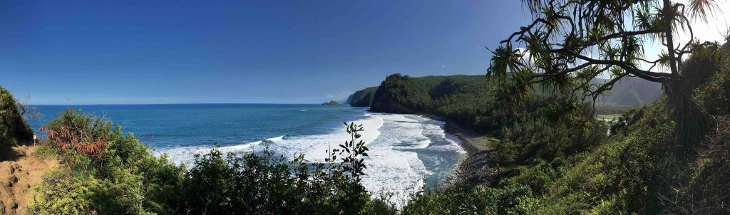 The Pololū Trail on Hawai'i's northern shore is a stunning cliffside hike leading down to a black sand beach and into the Polulū Valley. Credit: Kris Arnold