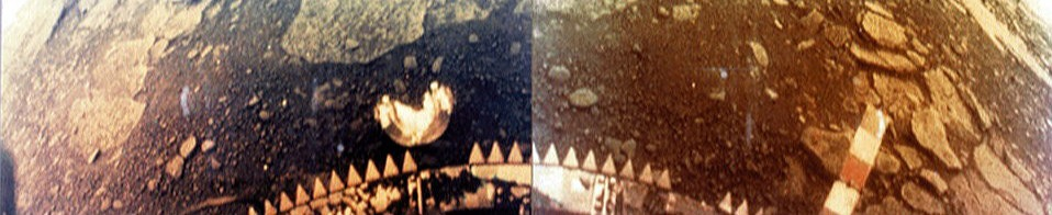 Photo of the surface of Venus taken by the Venera 13 lander on March 1, 1982. Credit: NASA and Venera 13, public domain