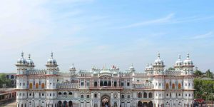 Janki Mandir, a temple in Janakpur, Nepal, is dedicated to Sita. Her father, King Janak, ruled the region, and it was in Janakpur that Sita chose to wed Ram. Credit: Abhishek Dutta, via Wikimedia Commons, CC BY-SA 3.0
