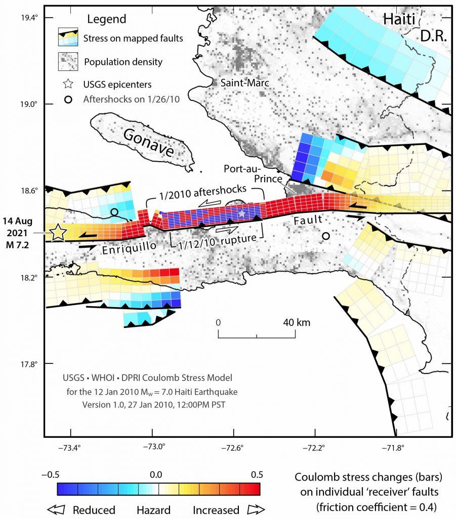 Figura 1. Esta es la figura 1 de Lin et al., (2010), donde se incluye el epicentro del terremoto de magnitud 7,2, ocurrido el 14 de agosto de 2021 en Nippes, Haití, el cual fue generado en uno de los segmentos o parches de falla del sistema de fallamiento de Enriquillo.