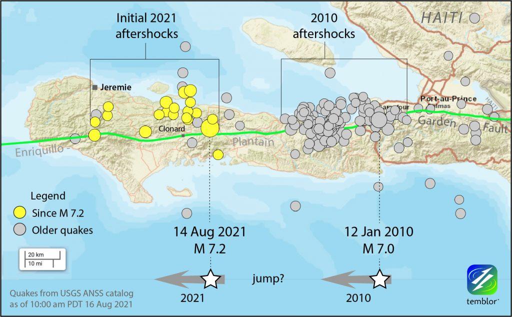 図2. エンリキロ断層沿いで西へ進展する2010年,2021年地震.両地震の震源断層の間には10 km程度のギャップ(未破壊区間)があるようにみえる.