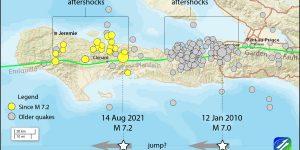 Figura 2. Migración hacia el oeste de la ruptura del terremoto de 2010 y 2021. La figura sugiere la existencia de una brecha de ~15km de largo entre ambos eventos, la cual es candidata, entre muchas otras, a romper en un futuro terremoto. Crédito: Temblor Inc.