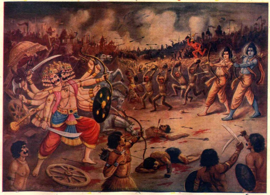 Artist's depiction of Ravana as a 10-headed demon doing battle with the blue-skinned Ram, as well as Laxman, Hanuman and the army of monkeys. Credit: MahaMuni, via Wikimedia Commons, public domain
